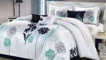 Luxury Bedding Set Haley White Navy Teal
