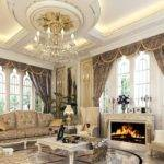 Luxury European Style Living Room Fireplace