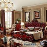 Luxury Italian Style Red Solid Wood Carving Bedroom