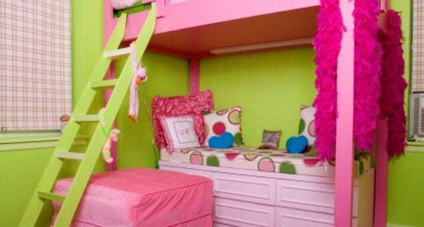 Magnificent Girl Pink Lime Bedroom Decoration Using