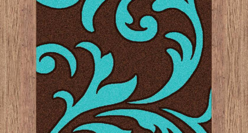 Majestic Carving Brown Turquoise Contemporary Rug