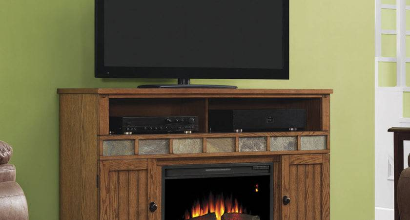 Margate Electric Fireplace Media Cabinet Premium Oak