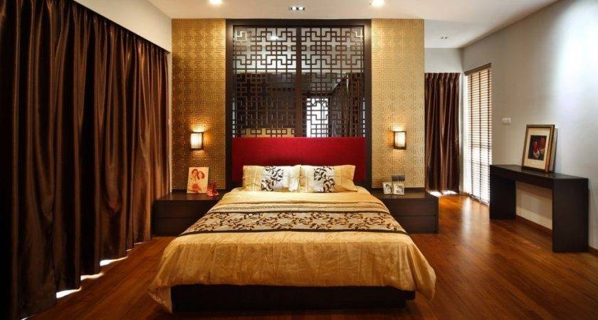 Maroon Gold Bedroom Asian Bed Blackout