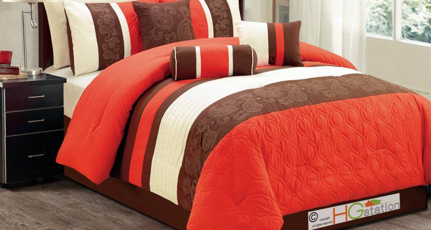 Marquise Paisley Scroll Embroidery Comforter Set Orange