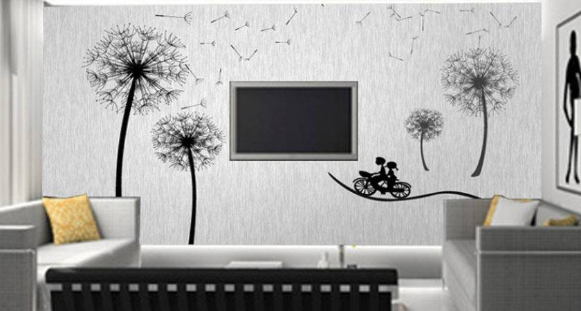 Marvelous Living Room Decor Blck White Tree Simple Wall