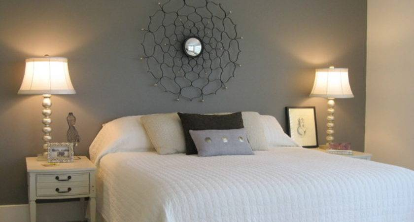 Master Bedroom Painted Wall Headboard Eclectic
