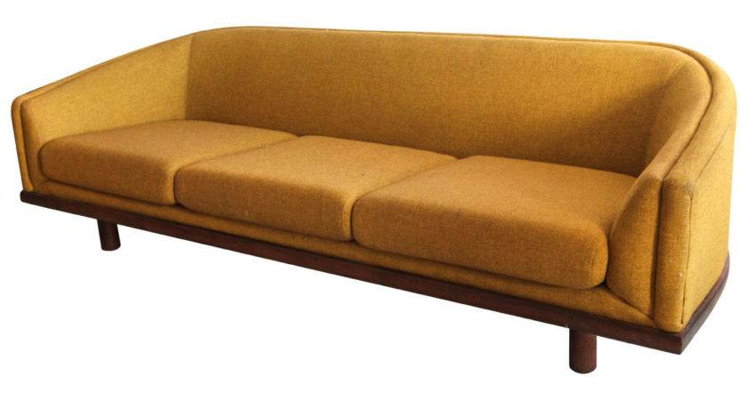 Mid Century Curved Back Sofa Mustard Yellow Fabric