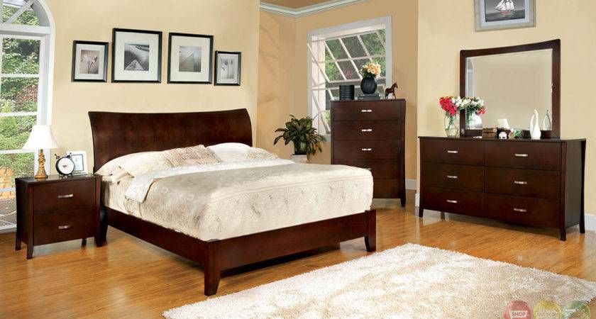 Midland Contemporary Brown Cherry Bedroom Set Wooden