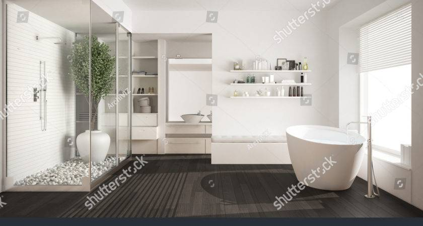 Minimalist White Scandinavian Bathroom Walkin Closet