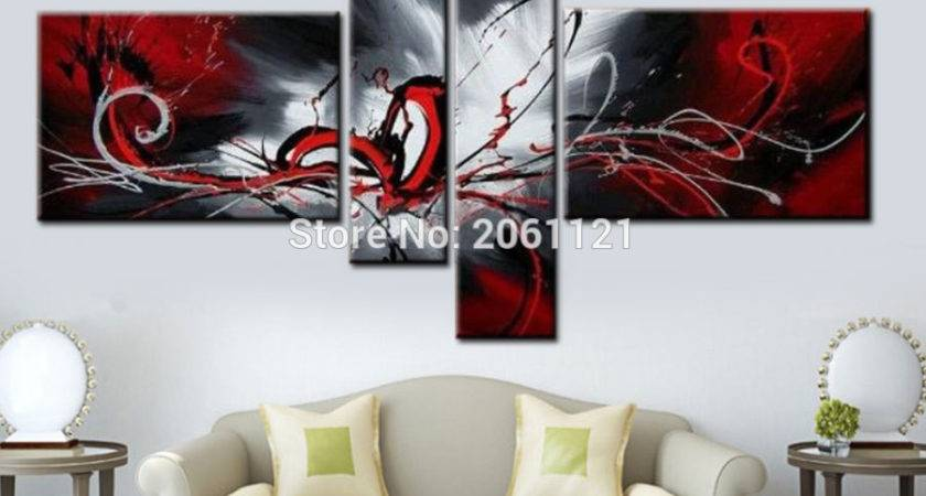 Modern Abstract Cnavas Oil Painting Hand Painted Black