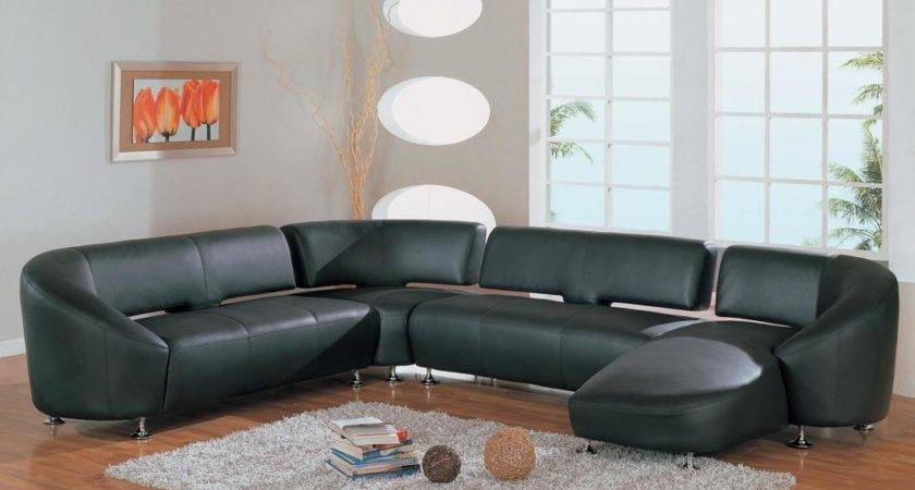 Modern Black Leather Sofa Living Room Home Design
