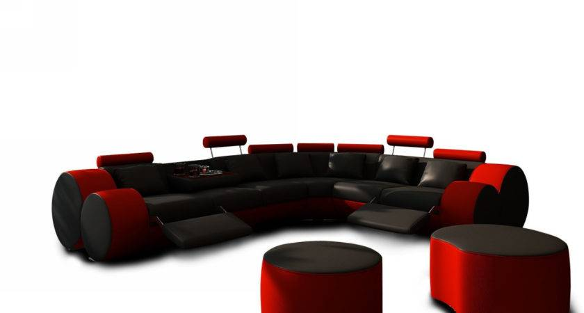 Modern Black Red Leather Sectional Sofa