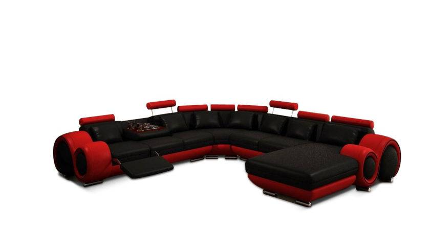 Modern Black Red Sectional Sofa