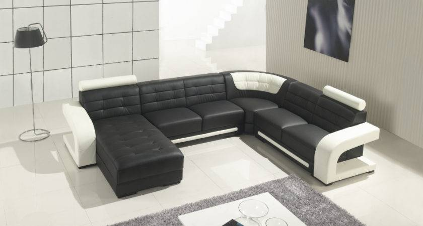 Modern Black White Leather Sectional Sofa