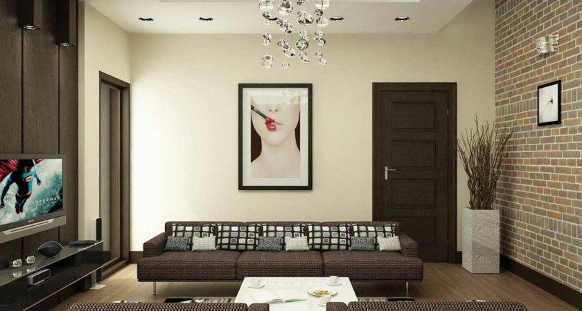 Modern Brown White Living Room Brick Wall Decor