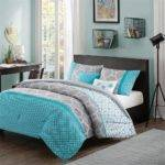 Modern Contemporary Blue Teal Aqua Grey Chevron Comforter