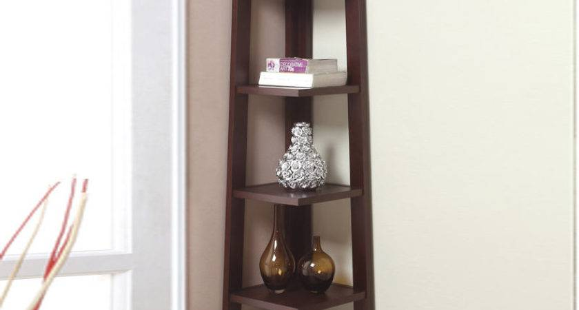 Modern Crafted Walnut Tier Angled Wood Bookshelf Corner