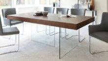 Modern Dark Wood Dining Table Glass Legs Seats