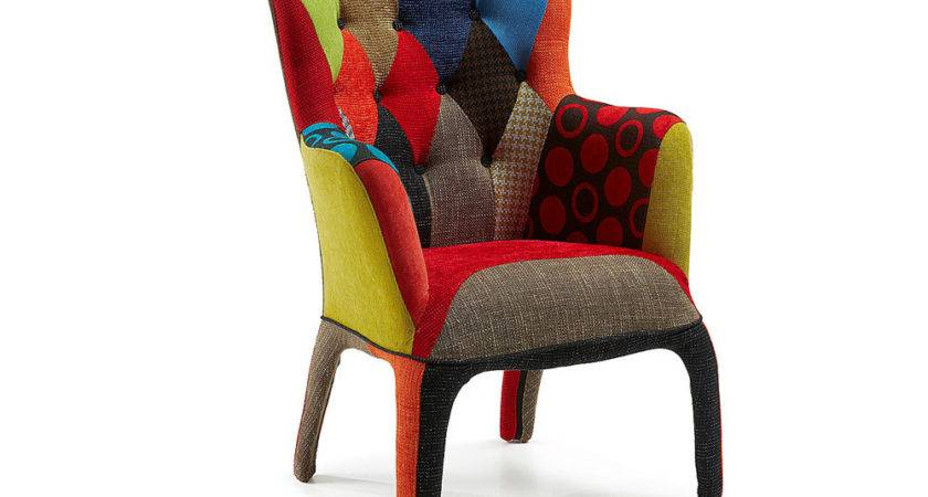 Modern Design Armchair Covered Patchwork Fabric Twist
