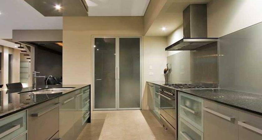 Modern Galley Kitchen Design Using Frosted Glass