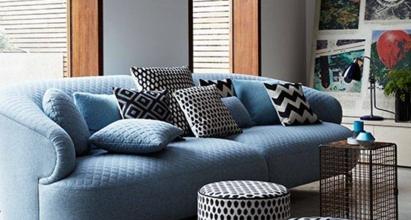 Modern Living Room Blue Sofa Poufs Decorating