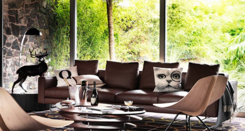 Modern Living Room Brown Leather Sofa