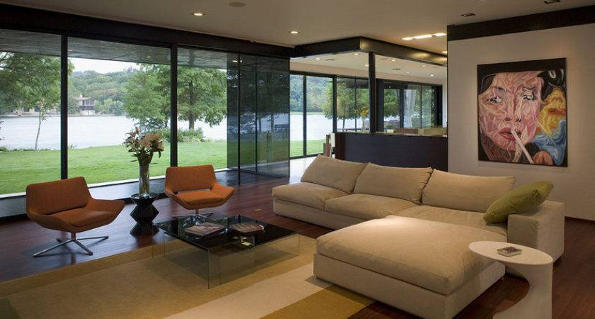 Modern Living Room Lake Interior Design Ideas