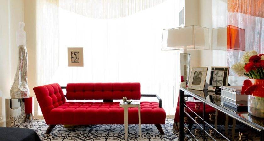Modern Red Sofa Living Room Eclectic Wall Art Tufted
