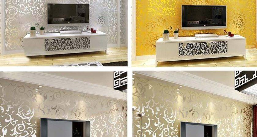 Modern Wall Paper Roll Silver Living