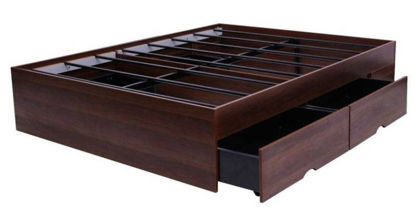 Modern Walnut Queen Bed Base Large Drawers Buy