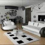 Modern White Black Colored Living Room Design