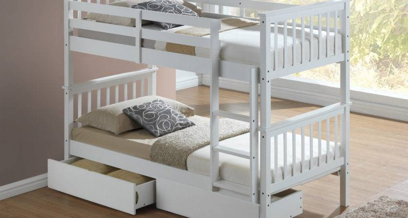 Modern White Childrens Bunk Bed Drawers