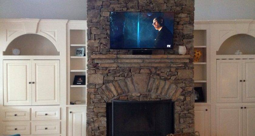 Mounted Stacked Stone Fireplace Yelp
