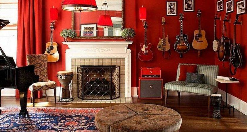 Music Themed Room Ideas Red Wall Paint Color Home Homes Decor
