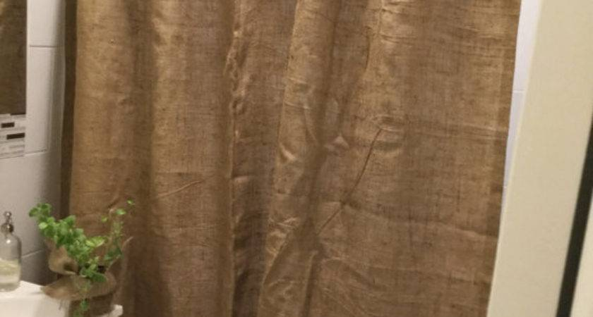 Natural Burlap Shower Curtain Dark Brown Ruffle Custom