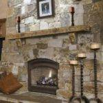 Natural Stone Fireplace Mantel Decorative Shelves Wood