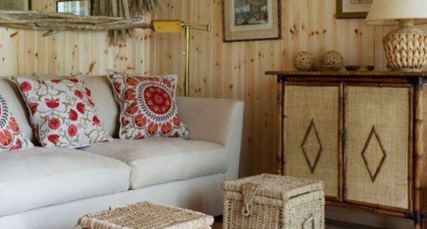 Natural Wood Wicker Living Room Small