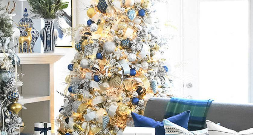 Navy Blue Silver Christmas Decorations