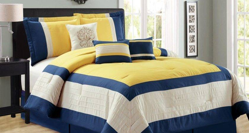 Navy Yellow Bedding White