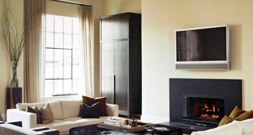 Neutral Contemporary Living Room Black Fireplace Hgtv