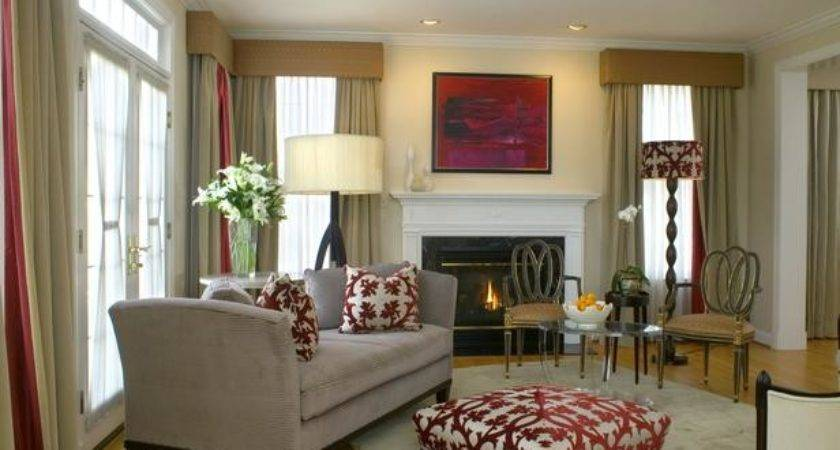 Neutral Living Room Coordinating Red Accents Hgtv