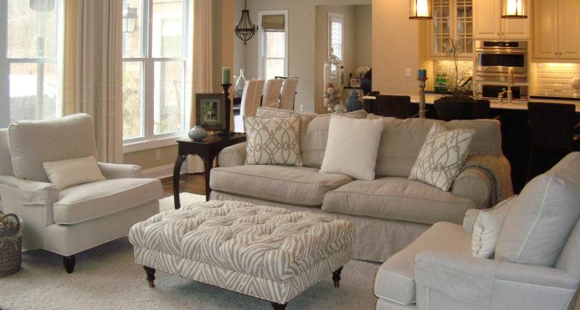 Neutral Living Room Overstuffed Beige Sofa