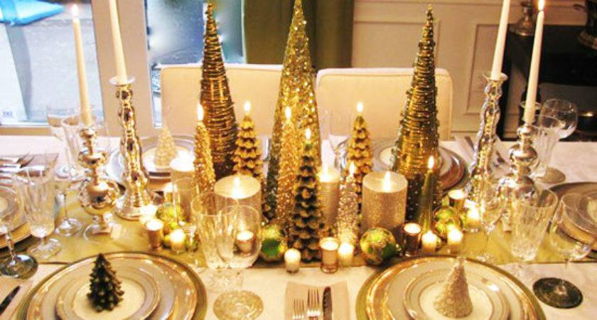 New Ideas Gold White Christmas Table Decorations