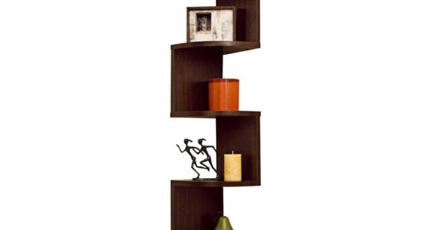 New Modern Corner Shelves Wall Mount Shelf Set Hang Zig