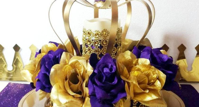 New Purple Gold Baby Shower Crown Centerpiece Royal