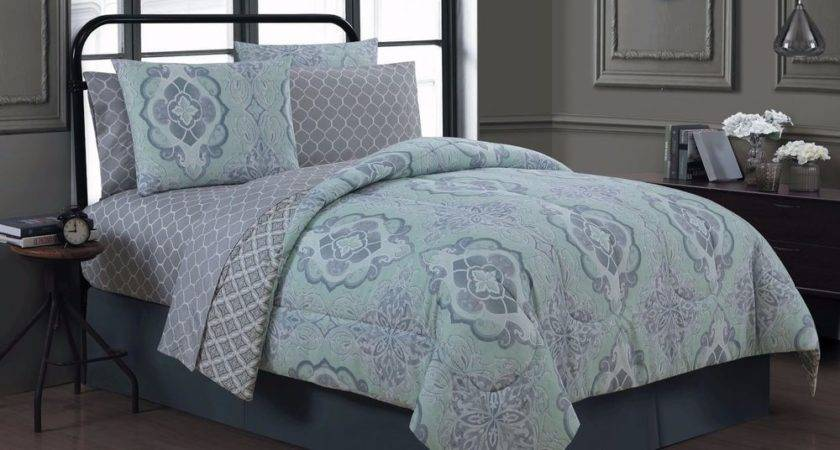 New Queen King Bed Mint Green Gray Grey Damask Geometric