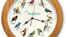 Oak Framed Audubon Society Singing Bird Clock