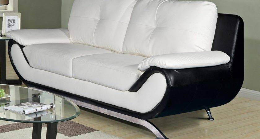 Oberon White Black Leather Sofa