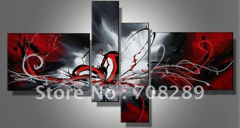 Oil Paintings Canvas Red Black White Home Decoration