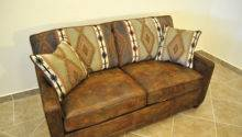Old Antique Vintage Brown Leather Twin Sleeper